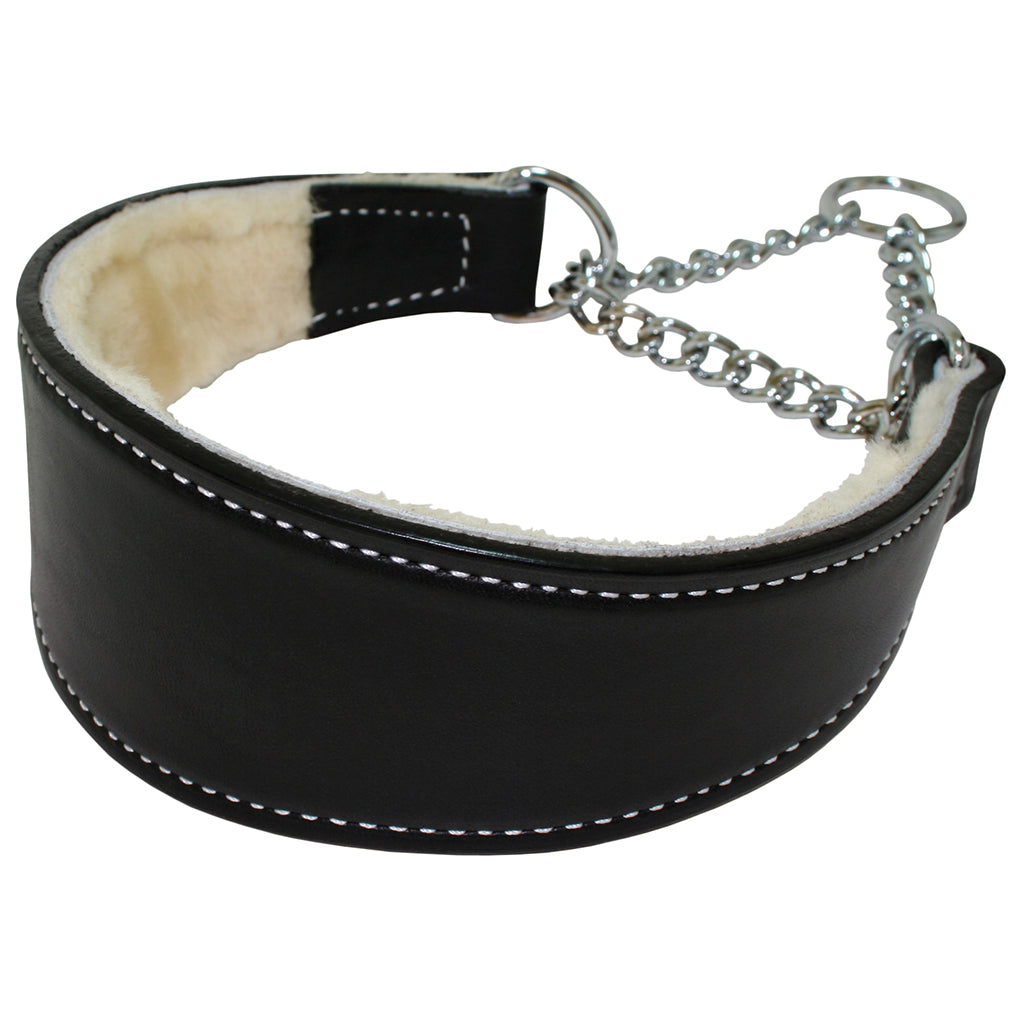 black leather martingale dog collar