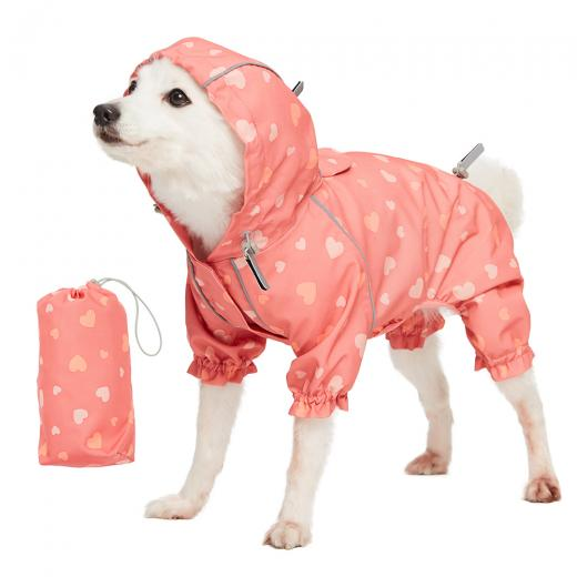 waterproof dog coat in pink hearts reflective