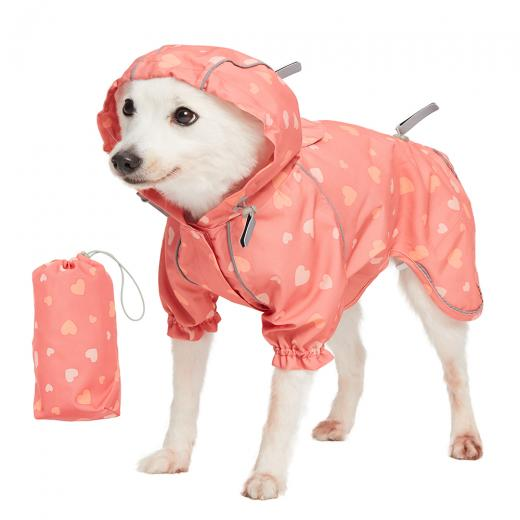 Pink hearts reflective waterproof dog coat