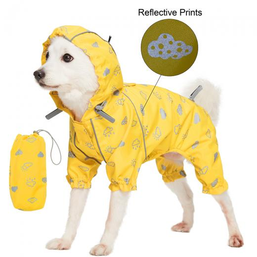 waterproof dog coat yellow reflective 4 legs