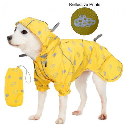 Yellow Reflective waterproof dog rain coat