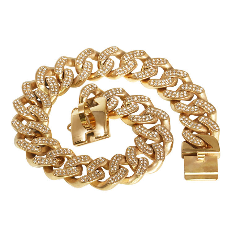 rhinestone gold dog chain collar