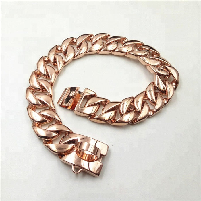 rose gold dog chain collar