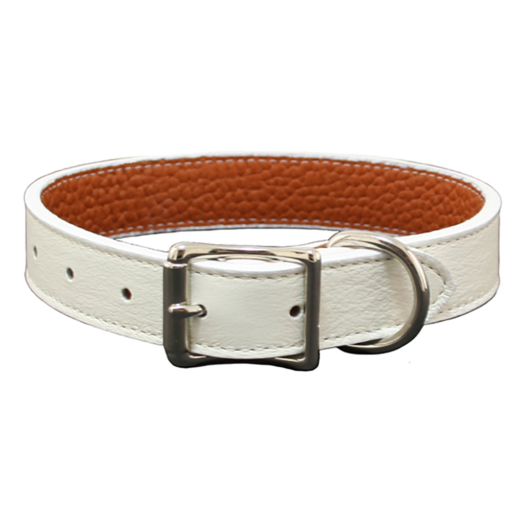 white soft leather dog collar
