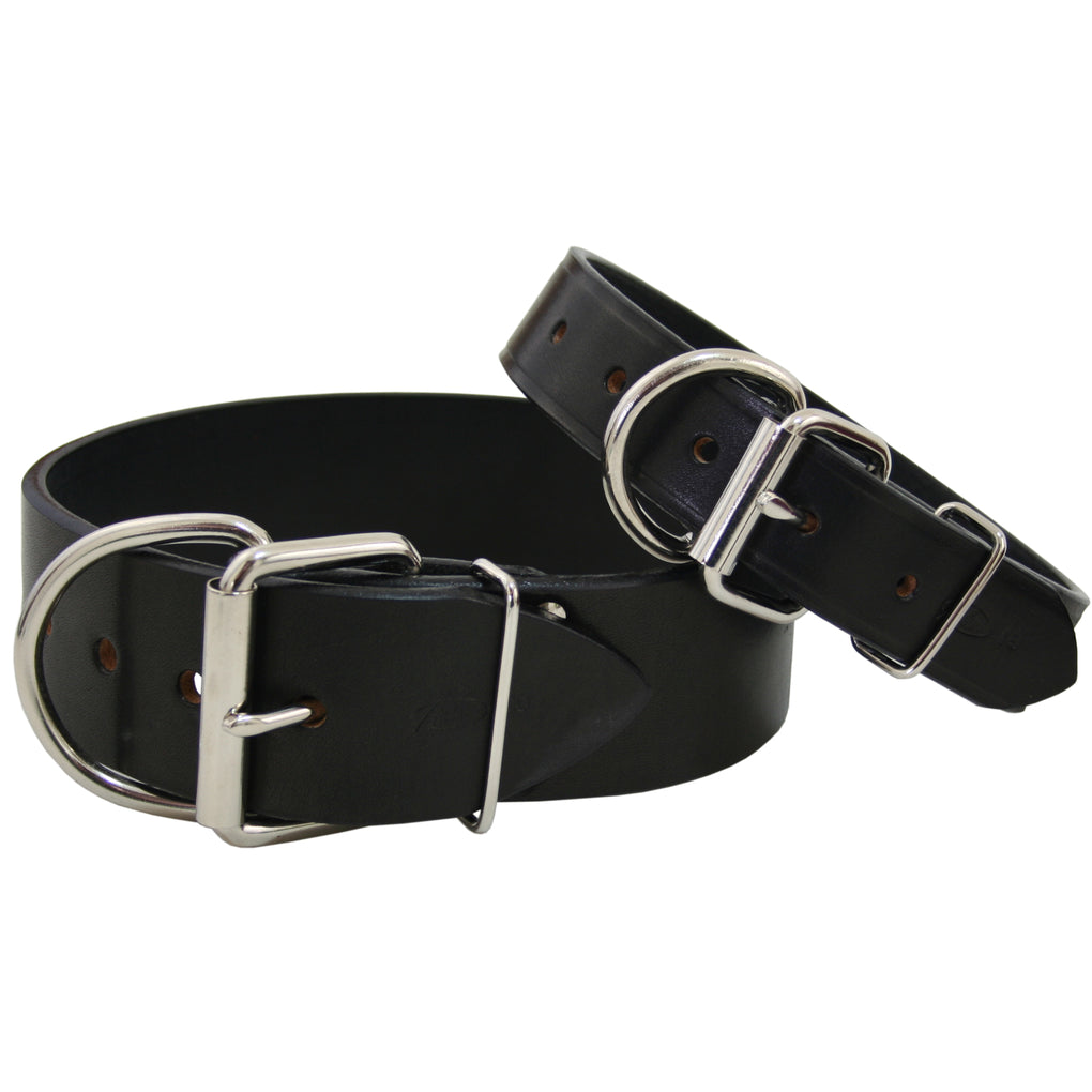black thick leather xl dog collar
