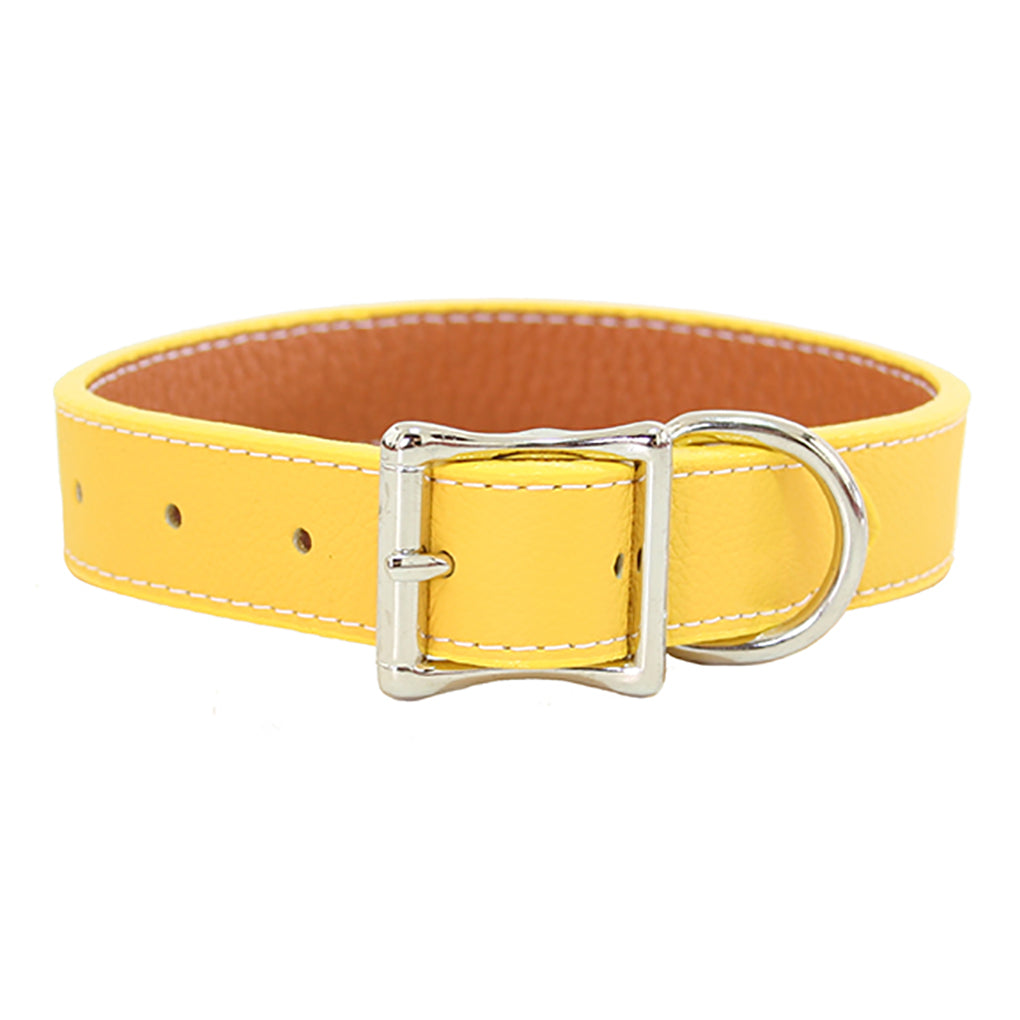 yellow large leather dog collar
