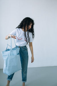 giant pocket tote - powder blue
