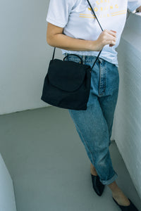 canvas shoulder bag - black