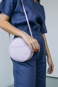 canvas circle purse - lilac