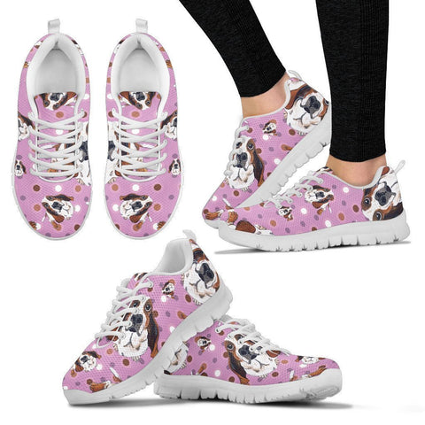 Basset Hound Pattern Print Sneakers For Women- Express Shipping