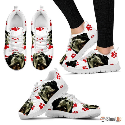 Customized Red Paws Dog Print (Black/White) Running Shoes For Women-Free Shipping