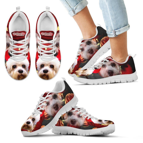 Dandie Dinmont Terrier Halloween Print Sneakers For Kids- Free Shipping