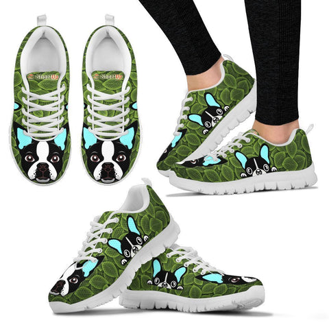 Boston Terrier On Green-Women's Running Shoes-Free Shipping