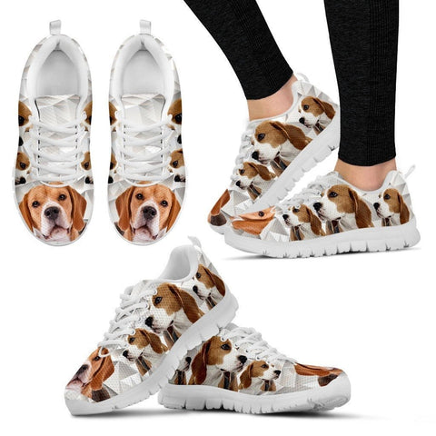 Beagle Dog Print (Black/White) Running Shoes For Women-Express Delivery