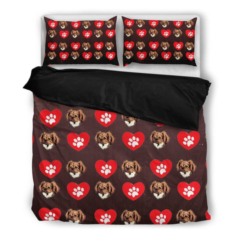 Valentine's Day Special-Tibetan Spaniel With Red Heart Print Bedding Set-Free Shipping