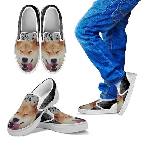 Shiba Inu Print Slip Ons For Kids- Express Shipping