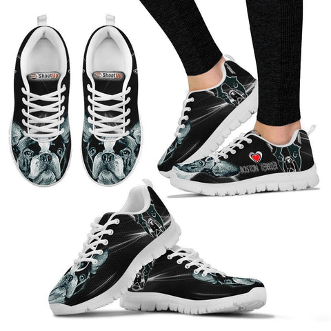 Boston Terrier Black Print Running Shoes For Women- Free Shipping