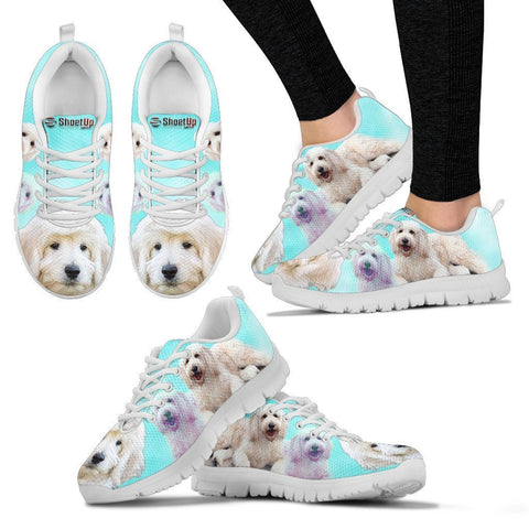 Smiling Goldendoodle Print Sneakers For Women- Free Shipping