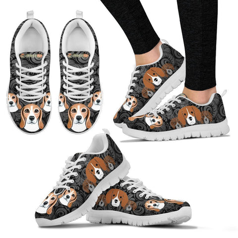 Beagle On Black-Women's Running Shoes-Free Shipping