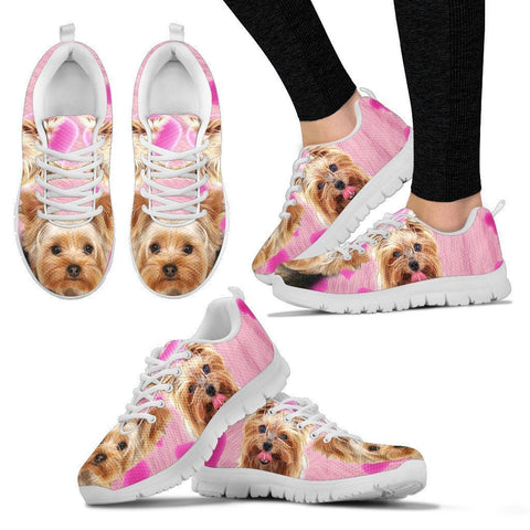 Yorkshire Terrier On Light Pink Print Running Shoes For Women- Free Shipping