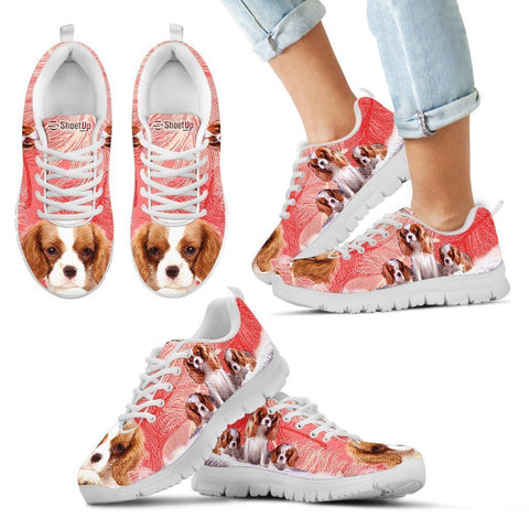Cavalier King Charles Spaniel On Red Print Sneakers For Women And Kids- Free Shipping