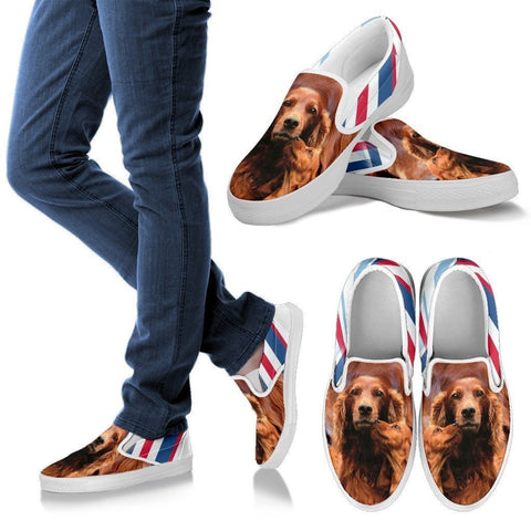 Irish Setter Print Slip Ons For Women- Express Shipping