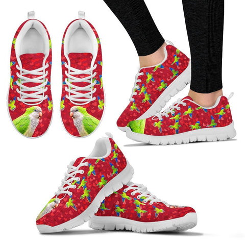 Valentine's Day Special-Monk Parakeet Parrot On Red Print Running Shoes For Women-Free Shipping
