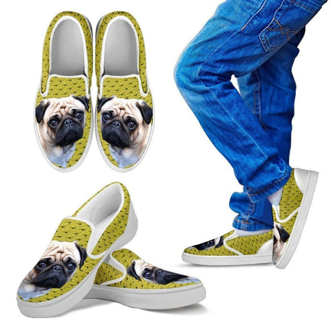 Pug Print-Slip Ons For Kids-Express Shipping