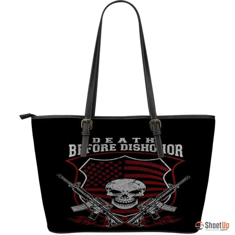 Death Before Dishonor- Large Leather Tote Bag- Free Shipping