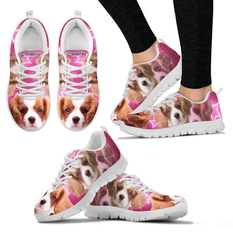 Cavalier King Charles Spaniel On Pink Print Running Shoe For Women- Free Shipping
