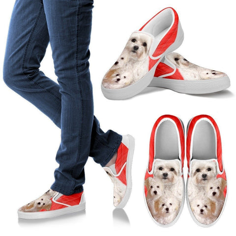 Bolognese Dog Print Slip Ons For Women- Express Shipping