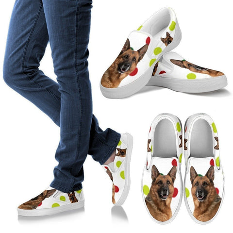 German Shepherd Dog Print Slip Ons For Women-Express Shipping