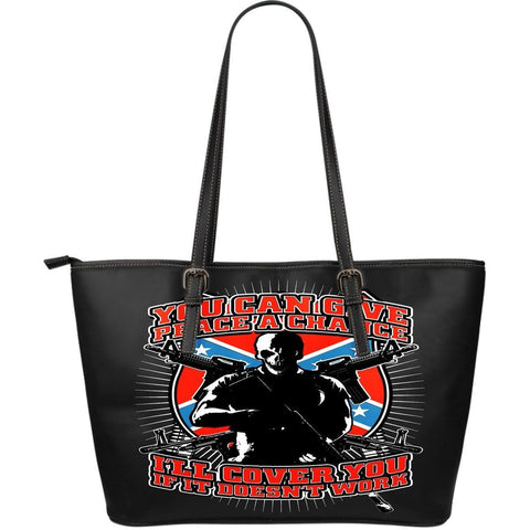 You Can Give Peace A Chance Large-Leather Tote Bag-Free Shipping