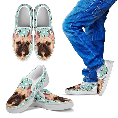 French Bulldog Print Slip Ons For Kids- Express Shipping