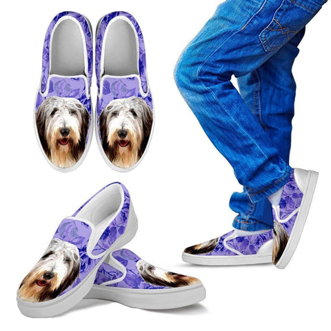 Bearded Collie Dog Print Slip Ons For Kids-Express Shipping