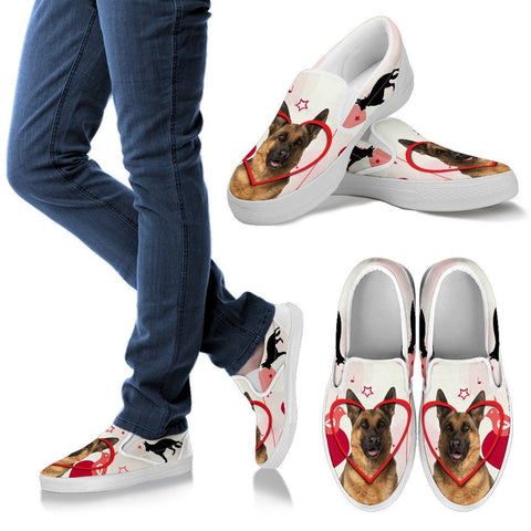 Valentine's Day Special German Shepherd Print Slip Ons For Women- Free Shipping