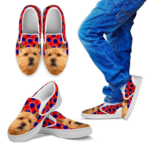 Norwich Terrier Print Slip Ons For Kids-Express Shipping