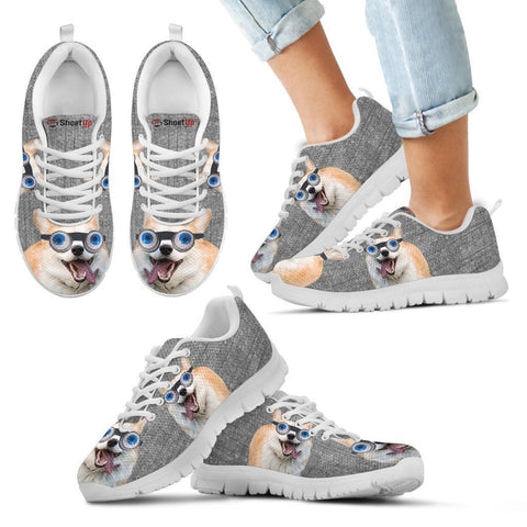Cardigan Welsh Corgi With Eye Glasses Print Running Shoes For Kids-Free Shipping