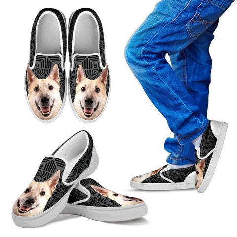 Norwegian Buhund Dog Print Slip Ons For Kids-Express Shipping
