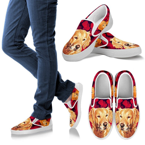Valentine's Day Special-Golden Retriever Print Slip Ons Shoes For Women-Free Shipping