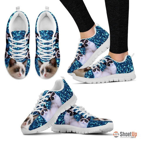 Snowshoe Cat (Black/White) Running Shoes For Women-Free Shipping