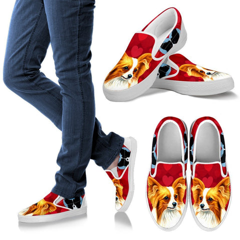 Valentine's Day Special-Papillon Dog Print Slip Ons Shoes For Women-Free Shipping
