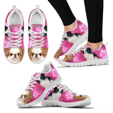 Japanese Chin On Pink Print Running Shoes For Women- Free Shipping