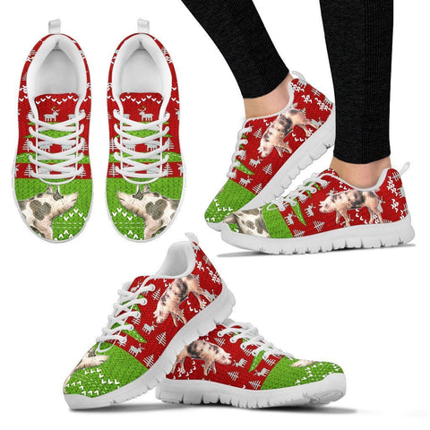 Pietrain Print Christmas Running Shoes For Women- Free Shipping-Paww-Printz-Merchandise