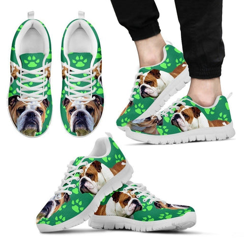 Paws Print Bulldog (Black/White) Running Shoes For Men-Limited Edition-Express Shipping