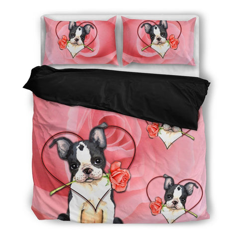 Valentine's Day Special Boston Terrier On Red Print Bedding Set-  Free Shipping
