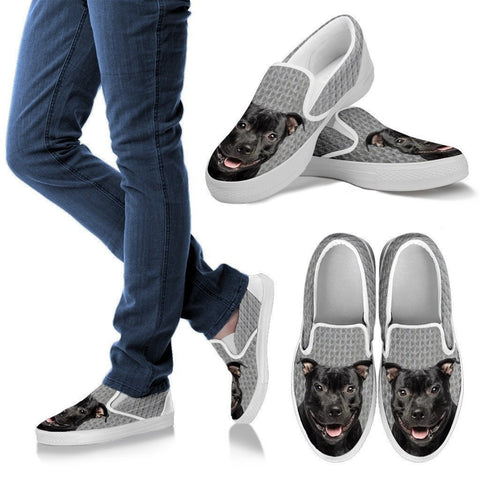 Staffordshire Bull Terrier Dog Print Slip Ons For Women-Express Shipping
