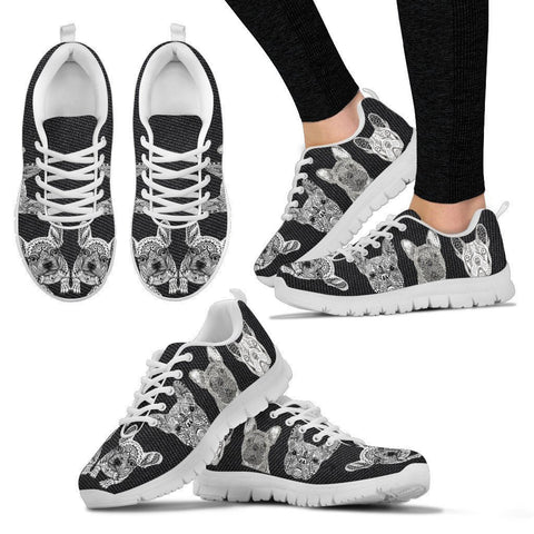 Black&White French Bulldog Print Running Shoes For Women-Free Shipping