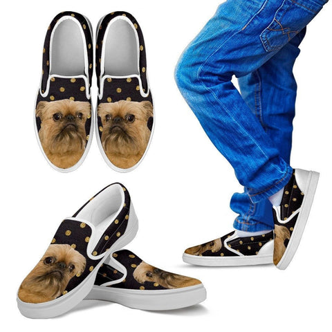 Brussels Griffon (Griffon Bruxellois) Print Slip Ons For Kids-Express Shipping