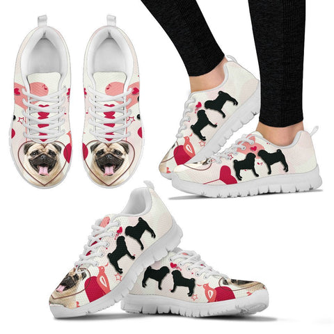 Valentine's Day Special Pug Dog 2nd Print Running Shoes For Women- Free Shipping